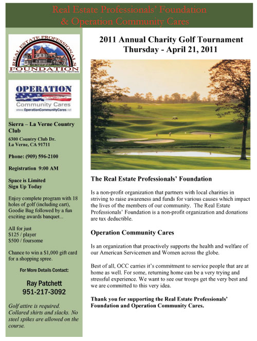 2011 Annual Charity Golf Tournament  Thursday - April 21, 2011